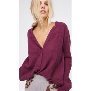 Free People Day Henley Pullover Top by We the Free